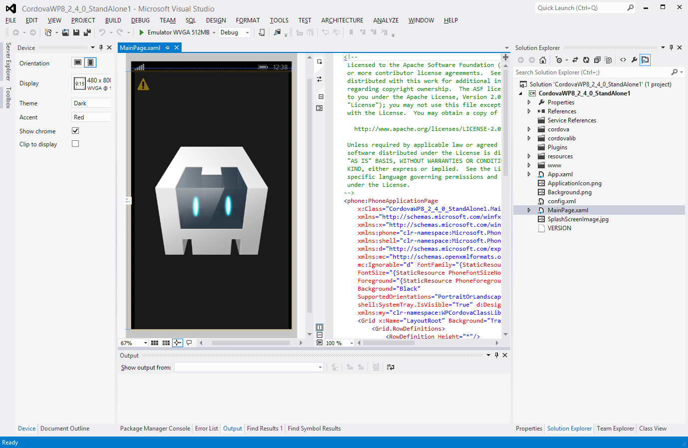 Phonegap 2 4 0 for windows phone 8 and windows store for Phonegap project template
