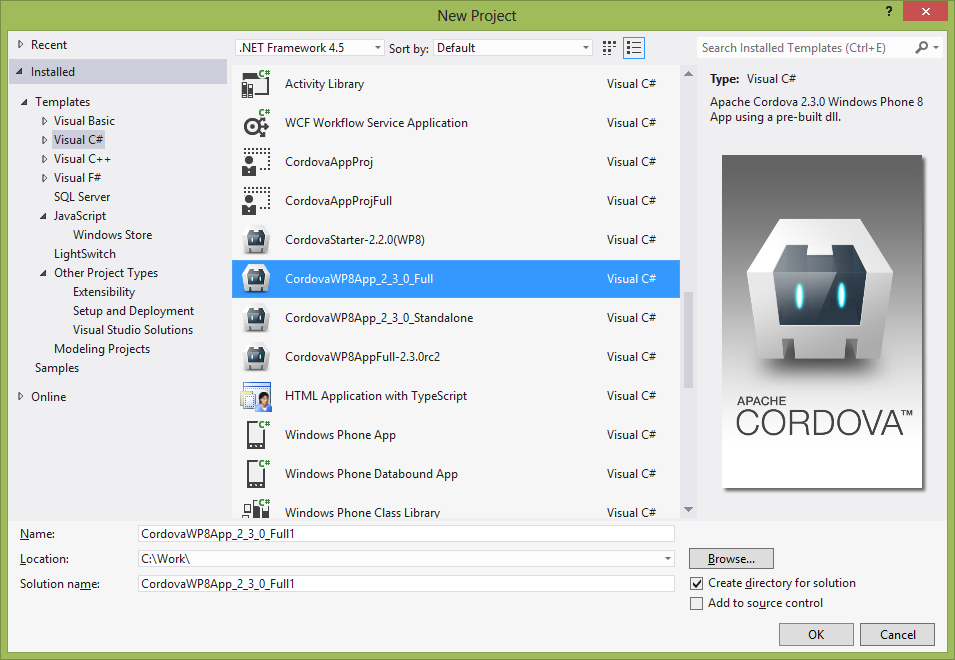 Using phonegap in windows phone 8 applications infragistics blog the stand alone template includes all the source code for apache cordova this project is easier to fine tune to use just the features you need pronofoot35fo Choice Image