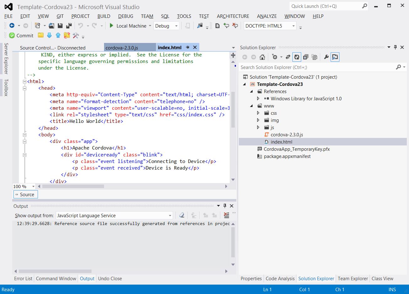 Using phonegap in windows 8 store applications for Phonegap project template