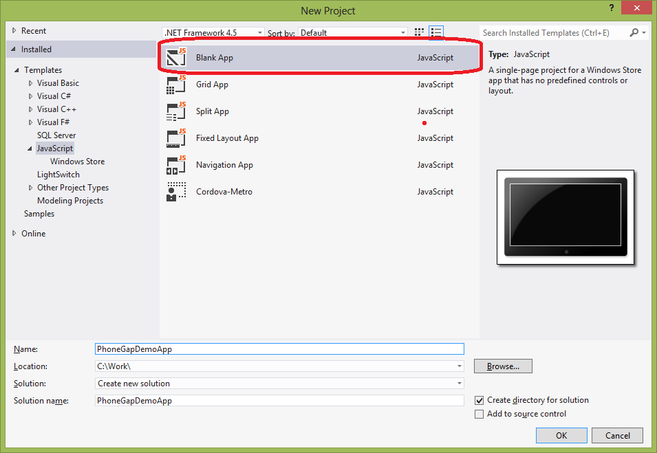 Using PhoneGap in Windows 8 Store Applications
