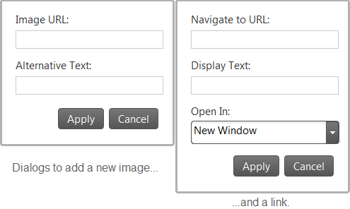 jQuery Html Editor's dialogs to add new image or link.