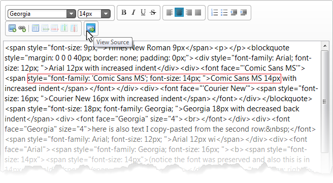 jQuery Html Editor's HTML source view