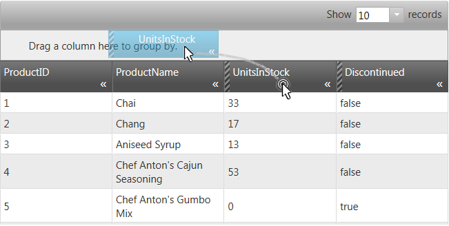 Using the GroupBy feature in NetAdvantage for jQuery Grid