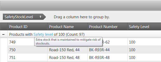 Group row text template in NetAdvantage for jQuery Grid