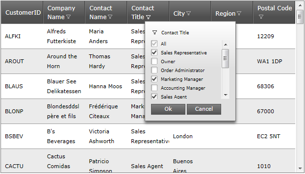 The ASP.NET AJAX data grid with Excel-Style filtering Menu, showing just the Sales titles and a column filter applied to the CIty column