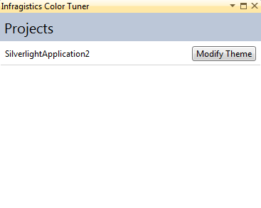 Infragistics NetAdvantage for Silverlight XAML Color Tuner Project Selection