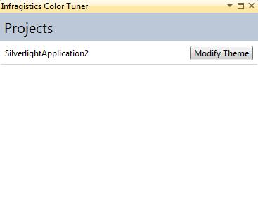 Infragistics NetAdvantage for Silverlight XAML Color Tuner Project Selection