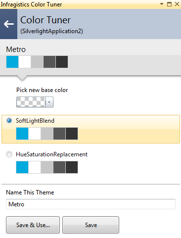 Infragistics NetAdvantage for Silverlight XAML Color Tuner Metro