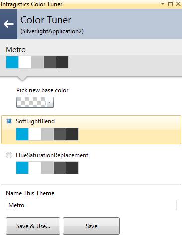 Infragistics NetAdvantage for Silverlight XAML Color Tuner Metro