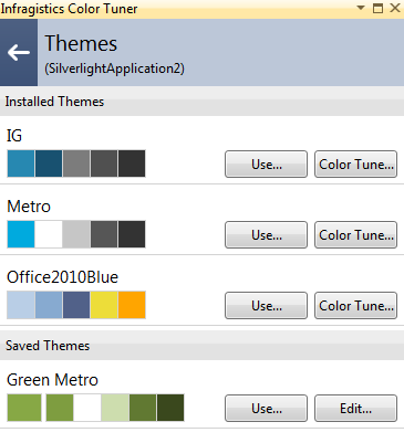 Infragistics NetAdvantage for Silverlight XAML Color Tuner Theme Selection