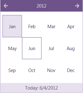 Infragistics 12.1 XAML Calendar Control Metro Theme