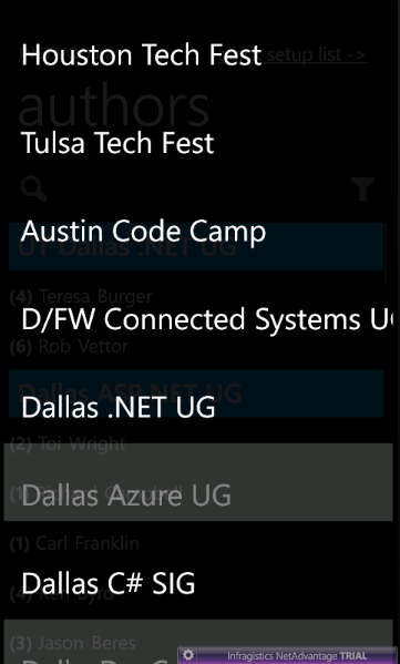 Infragistics Windows Phone List's Grouping Jump-to picker