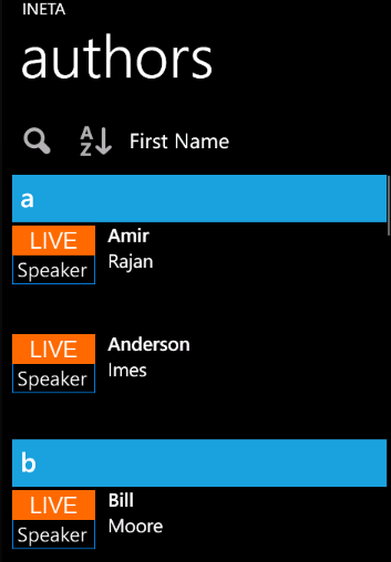 Infragistics Windows Phone List template with grouping and sorting.