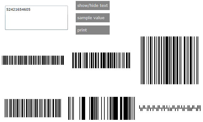 Demo application with multiple barcode controls all with their text hidden.