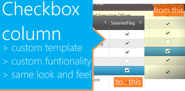 jQuery Grid checkbox column alternative using template to enchance funtionality and match experience.