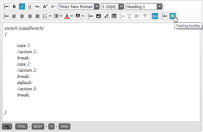 The HTML Editor a custom toolbar: result after the handler function's execution.