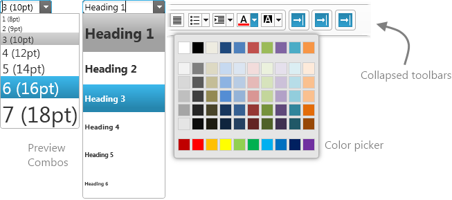 HTML Editor's combos previewing their effects and new user interactions such as color picker and toolbar collapsing and expanding.