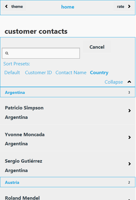 Infragistics jQuery Mobile List View with grouping and ThemeRoller built metro style theme.