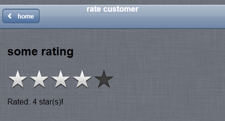 Infragistics jQuery Mobile Rating with iOS theme in a swatch.