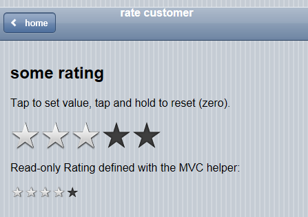 Infragistics jQuery Mobile Rating with iOS theme in default c swatch and read-only version.