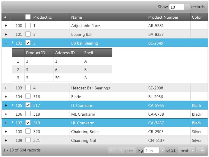 jQuery12.1 Hierarchical Grid Row Selectors