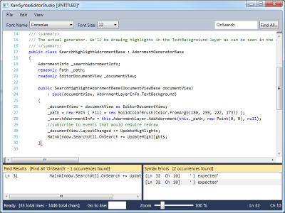 XAML Syntax Editor Studion demo.