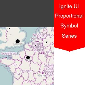 Infragistics Ignite UI Geographic Proportional Symbol Series Map jQuery