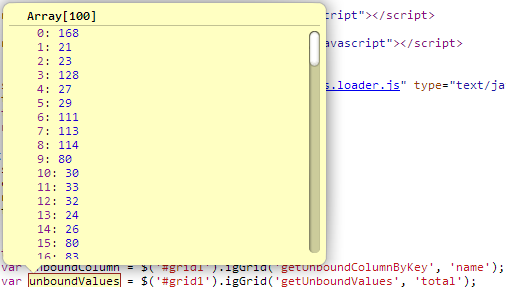 The results returned by the client method to get values for Unbound column in the Ignite UI Grid.