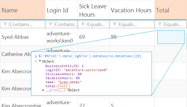 Ignite UI jQuery Grid with two unbound columns (merked orange). This shwos the result of using the merge property with a column formula and since values are not available on the server default null-s are assigned and the client never looks for values and the formula function is left uncalled.