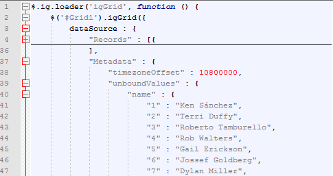 Ignite UI jQuery Grid definition as produced by the ASP.NET MVC wrapper. MergeUnboundCoulmns is false by default and all the unbound values are transmitted to the client in the source metadata.