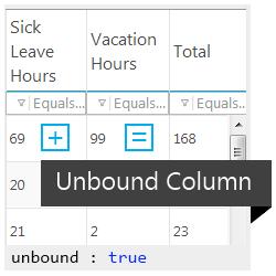Ignite UI jQuery Grid's Unbound Columns