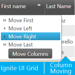 Ignite UI jQuery Grid with Column Moving feature. Dropdown menu visible on the shot.