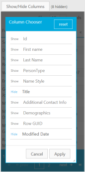 The column chooser for in the Responsive Phone mode