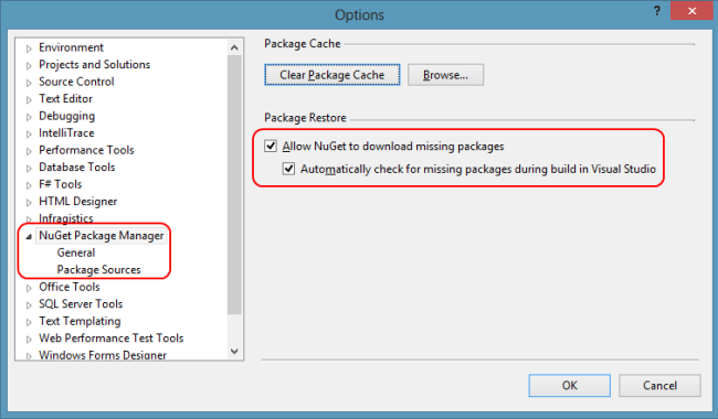 Visual Studio option for restoring missing packages