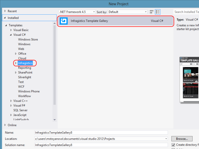 Visual Studio Infragistics Template Gallery