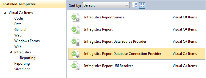 Infragistics Report Database Connection provider template available in Visual Studio.