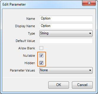Report Parameter's options set to allow for null/Nothing values and hide the parameter from the end-user