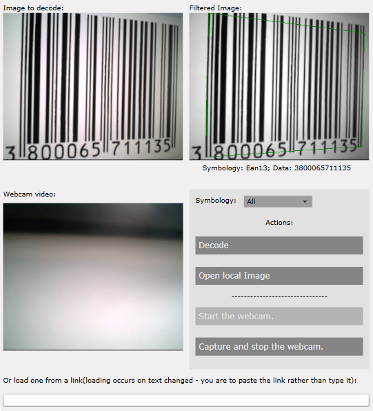 The XAML Barcode Reader deom application, showing both the original and the filtered image.