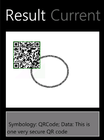 The XAML Barcode Reader ddemo app showing filtered image and result.