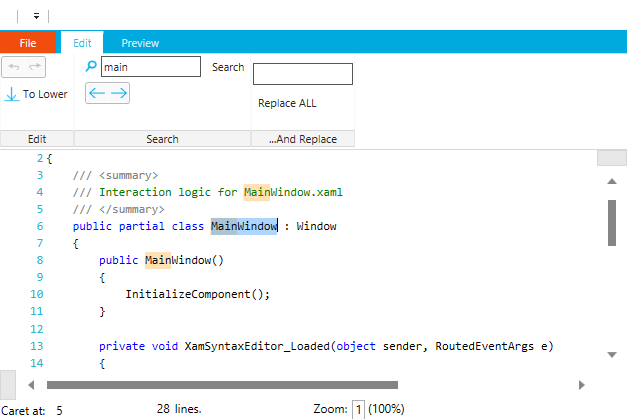 XAML Syntax Editor Search Highliting along with navigation