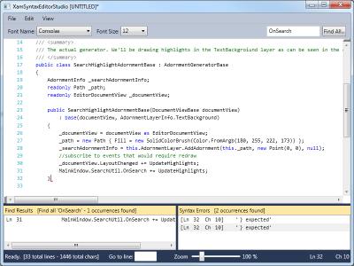 XAML Syntax Editor Studion demo.
