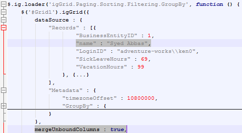 Ignite UI jQuery Grid definition as produced by the ASP.NET MVC wrapper. MergeUnboundCoulmns is true and unbound values are now part of the data records.