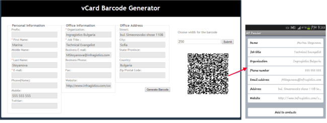 vCard QR barcode generator