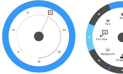 Ignite UI Radial Menu Numeric Items