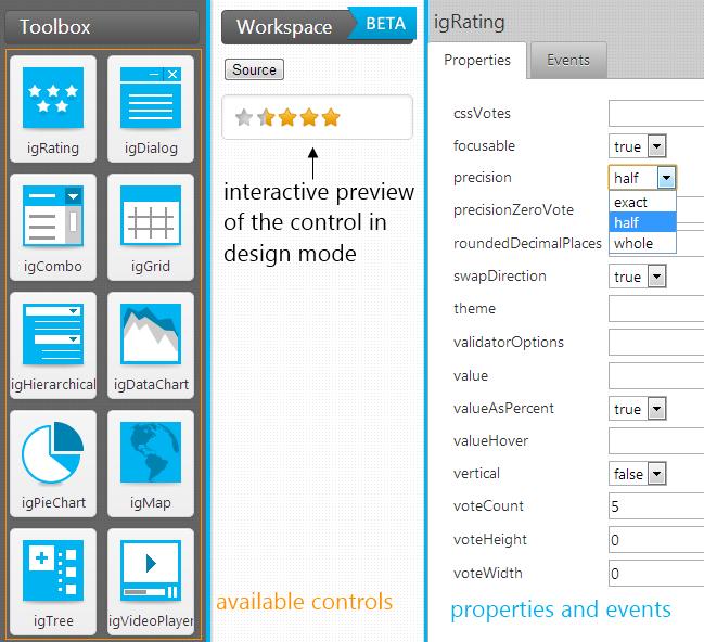 IgniteUI configurator tool layout