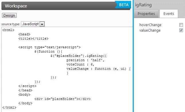 IgniteUI configurator generated jQuery / JavaScript code for the igRating