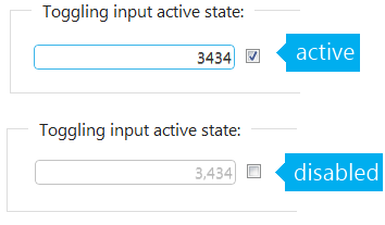 jQuery Editors input toggled betwen active and disabled.