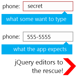 jQuery Editors input - control and guide
